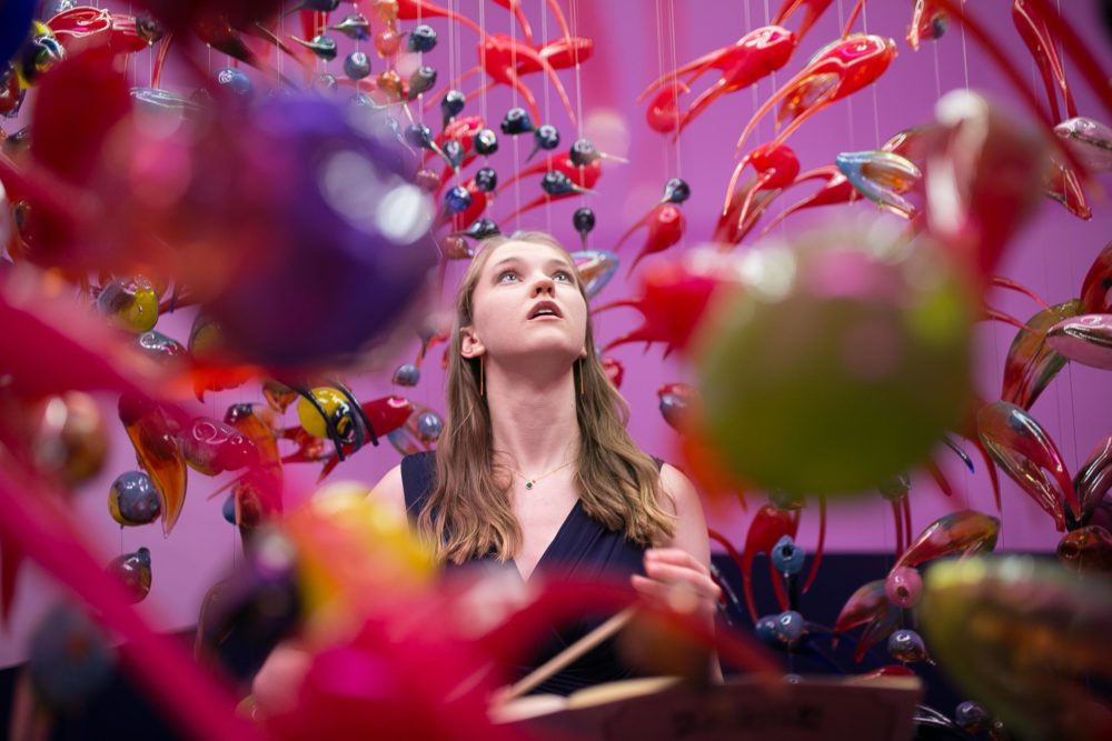 Alex Cecchetti, Singing Chandelier (2018) 1000 unique blown glass pieces, waterphone, iron structure. Installation view: At the Gates of the Music Palace, Spike Island, Bristol. Photograph by Stuart Whipps
