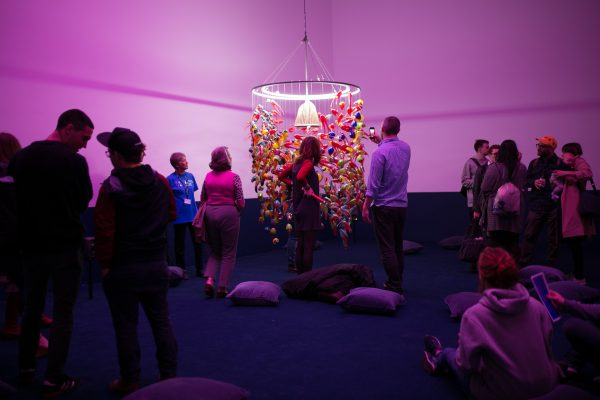 Alex Cecchetti, Singing Chandelier (2018) 1000 unique blown glass pieces, waterphone, iron structure. Installation view: At the Gates of the Music Palace, Spike Island, Bristol. Photograph by Lisa Whiting