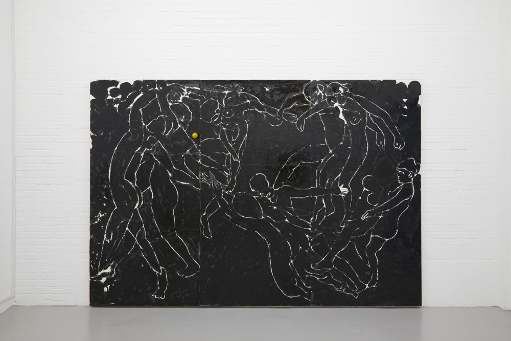 A large black canvas has faint outlines of people in a circle dancing naked. The faint outlines appear in white on black.