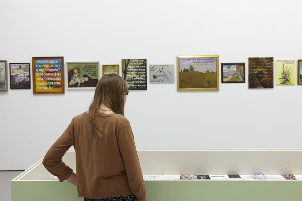 Andy Holden, Maximum Irony! Maximum Sincerity 1999-2003 (MI!MS) 2014. Installation view, Spike Island, Bristol. Photograph by Stuart Whipps