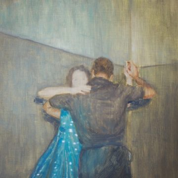A painting of a man and a woman dancing ballroom-style together. The woman wears a blue dress with white polka dots and the man is dressed all in black.