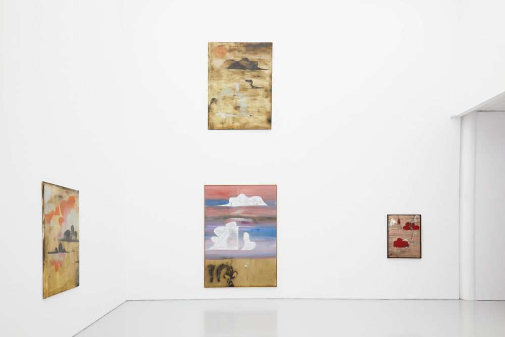 Benoît Maire Clouds Paintings (2012 – ) Oil and spray paint on canvas. Installation view Thebes (2018) Spike Island, Bristol. Works courtesy the artist. Photograph by Stuart Whipps