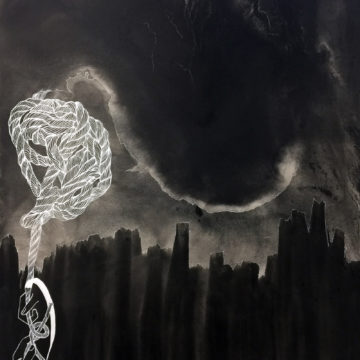 Acrylic and ink on canvas has been applied to look like, at first glance, a stormy night over a city. A rope appears as though it is being knotted over the top.
