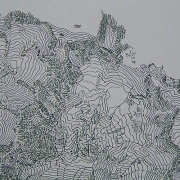 A neat line drawing that is reminiscent of a relief map of hills.