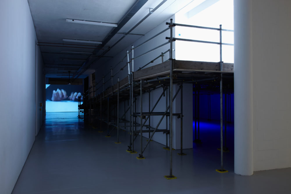 Installation: Gallery is empty but lit with blue, a speaker is visible.