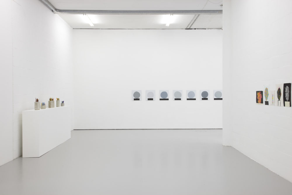 Installation view of David Batchelor Flatlands (2013). Various works are displayed.