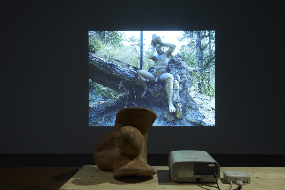 Installation view of Dewar & Gicquel, Diver (2012). A wooden structure sits on a table next to a projector. On the wall a sculpture of a naked man coming from a tree is screened.