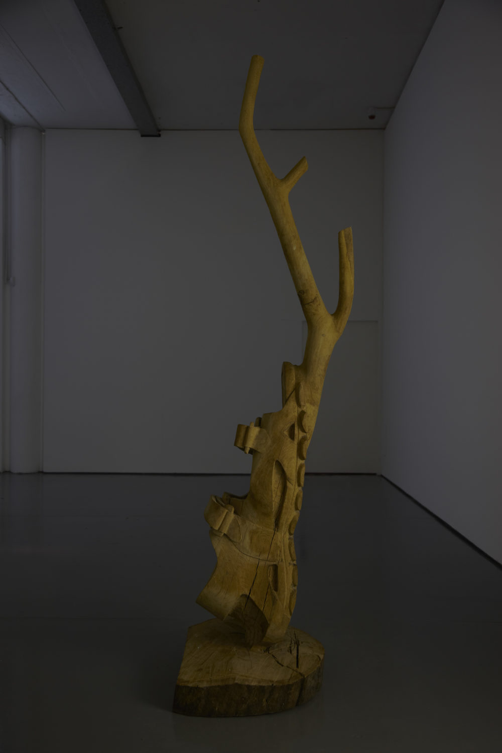 Installation view of Crêpe Suzette, (2012). Abstract wooden carving from a tree painted yellow.
