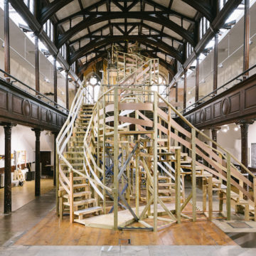 Jo Lathwood, Getting There (2018) Recycled timber. Installation at Fabrica Gallery
