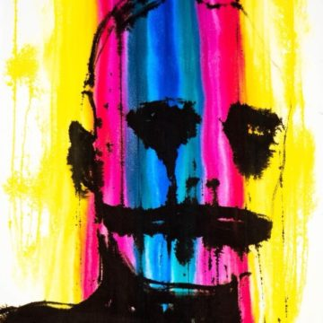 Painting: A colourful background of yellow, pink, and blue stripes has the outline of a man's head and shoulders drawn on top in black.