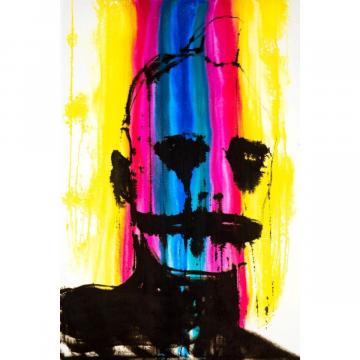 John de Mearns, Rainbow Warrior. Watercolour and indian ink on white velvet