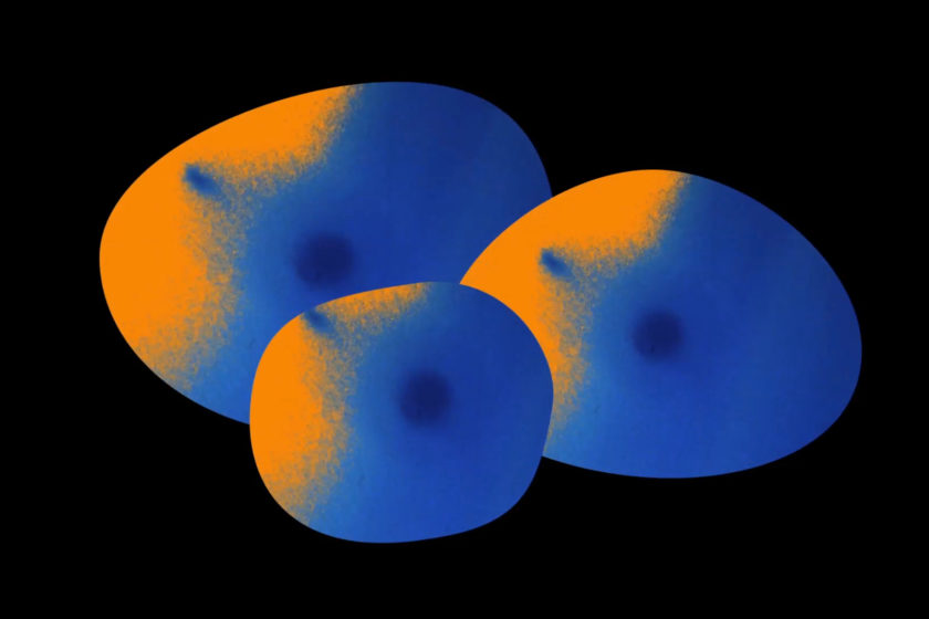 Three abstract blobs on a dark background coloured in blue and orange. The orange is to the top left of each blob, each blob has a centre darker blue spot.