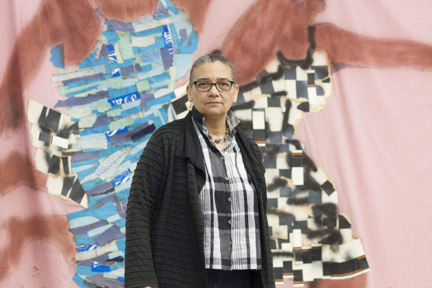 Lubaina Himid, photographed at Invisible Strategies exhibition, Modern Art Oxford (2017) Photograph by Edmund Blok