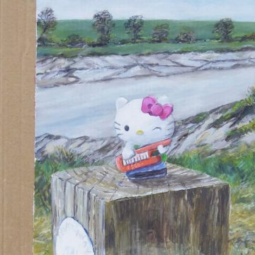 Maggie Royle, Hello Kitty? (2021), oil on primed card. Photograph by Maggie Royle