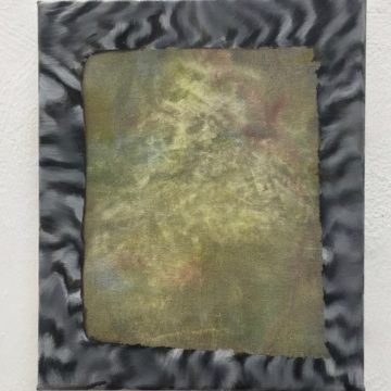 An abstract painting: the centre of the image is green and mottled, the outer has been painted echoing a black and white striped frame.