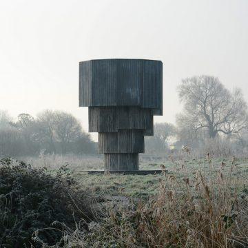 Marcus Jefferies, The Wilderness Tower (2020), steel, wood, reclaimed corrugated tin, Sharpham, Somerset
