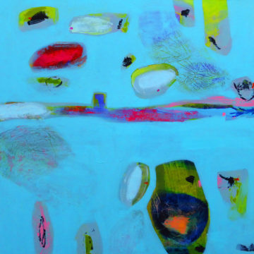 Abstract image: coloured shapes sit atop a sky blue background.