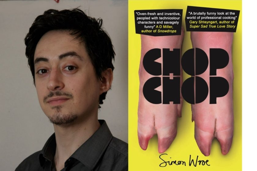 A photograph of the author Simon Wroe next to his book Chop Chop.