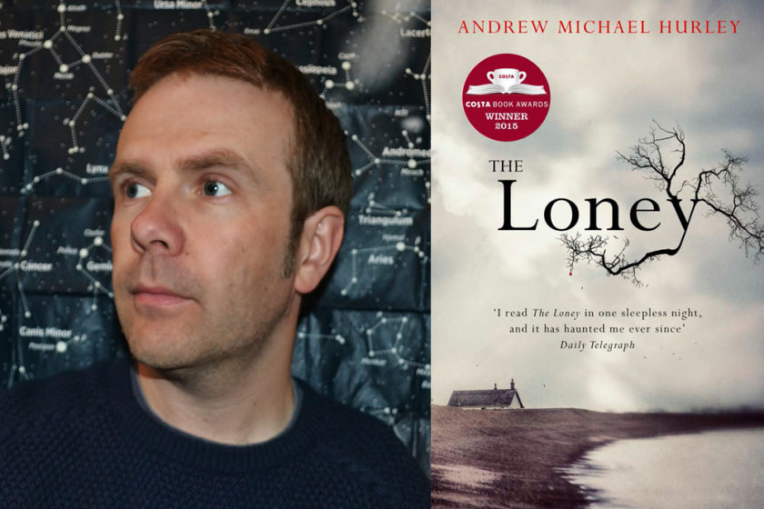 The author Andrew Michael Hurley next to their book The Loney.