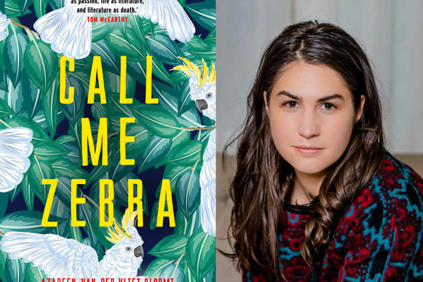 The author Azareen Van Der Vliet Oloomi next to their book Call Me Zebra.