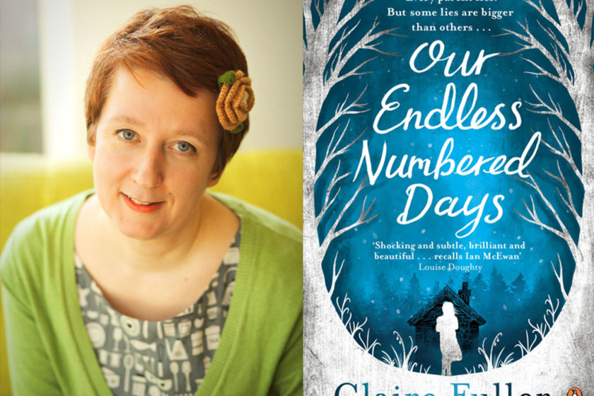 The author Claire Fuller next to their book Our Endless Numbered Days.