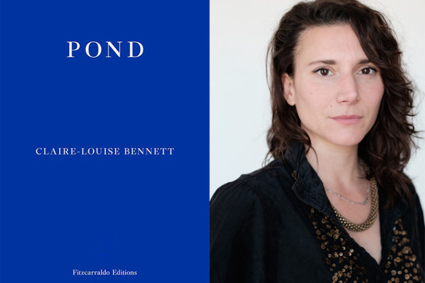 The author Claire-Louise Bennett next to their book Pond.