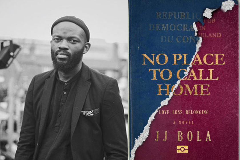 The author JJ Bola next to their book No Place To Call Home.
