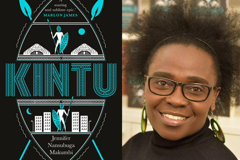A photograph of the author Jennifer Nansubuga next to her book Kintu.