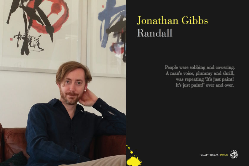 A photograph of the author Jonathan Gibbs next to their book Randall.