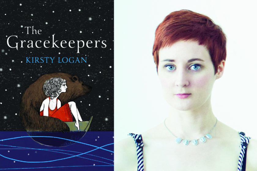 The author Kirsty Logan next to their book The Gracekeepers.