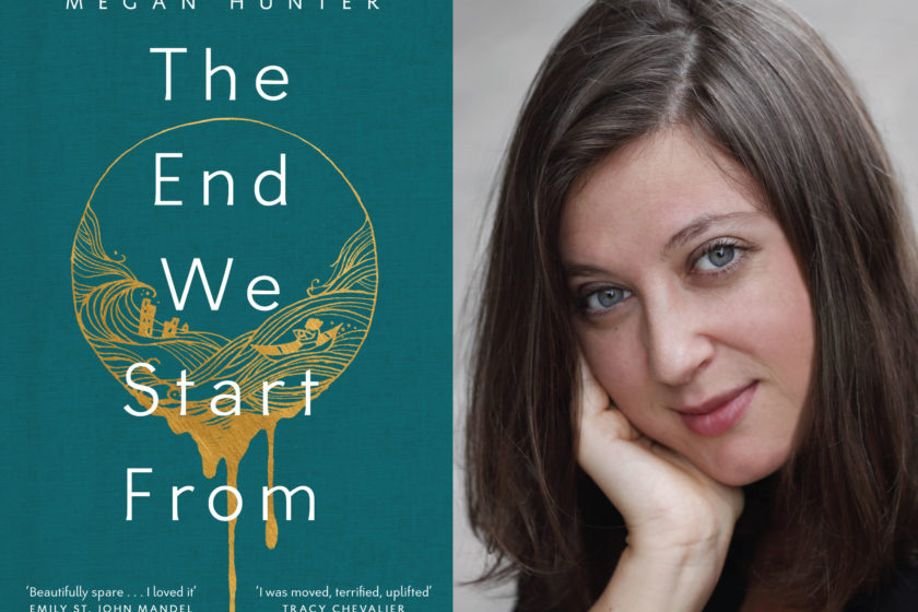 The author Megan Hunter next to their book The End We Start From.