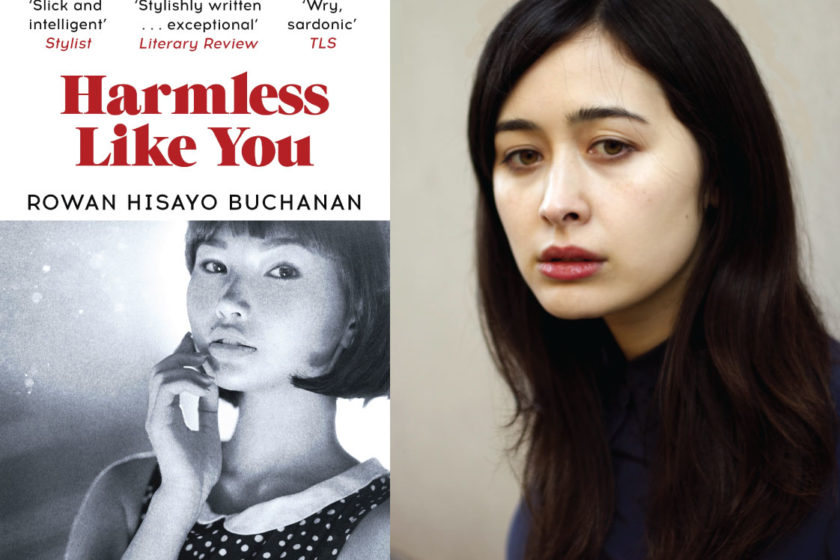 The author Rowan Hisayo Buchanan next to their book Harmless Like You.