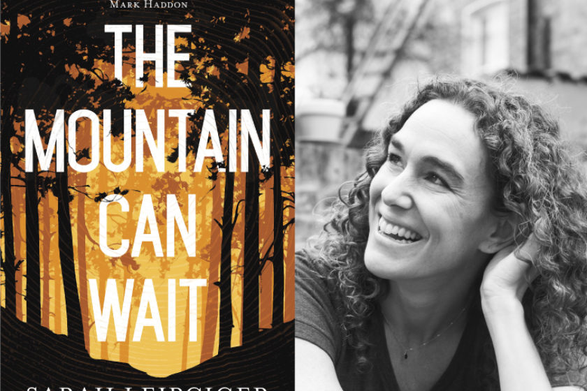 A photograph of the author Sara Leipciger next to their book The Mountain Can Wait.