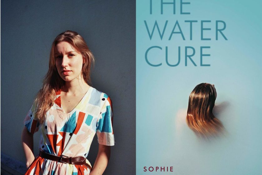 A photograph of the author Sophie Mackintosh next to their book The Water Cure.