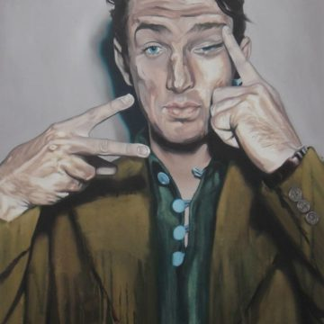 Painting: a white man rubs one eye with one hand, the other hand makes a 'v' sign at the camera.
