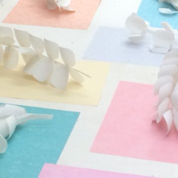 Installation: white paper sculptures of leaves and flowers sit atop coloured paper.