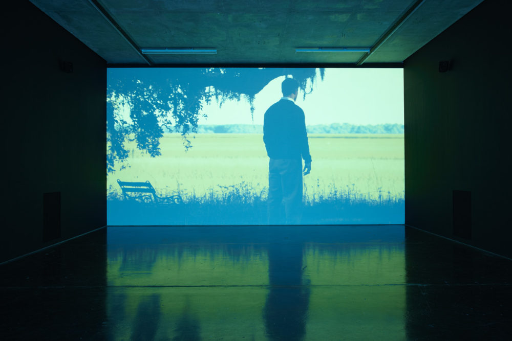 Installation view of Savage, I Asked You a Thousand Times (2011). A projection of a man looking at a field.