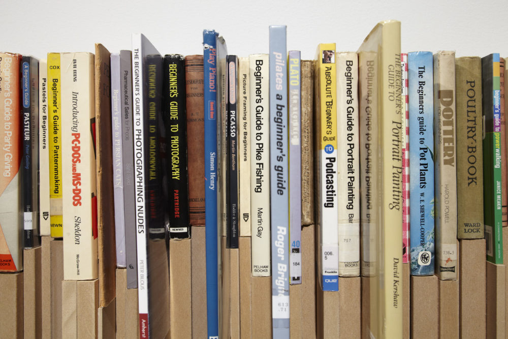 Installation view of Savage Presents Jean Michel Jarre (2011). An uneven bookshelf is made so that books of different heights all sit flush with one another.