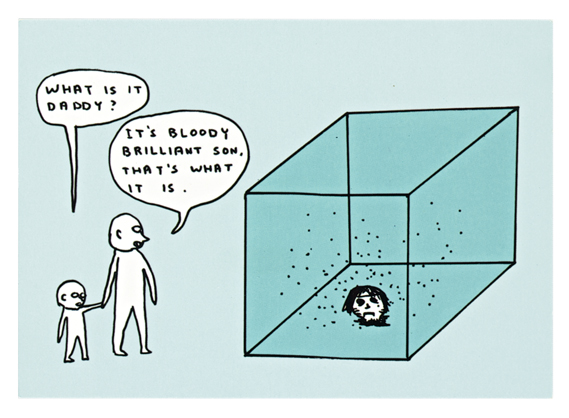 A work from The Artists' Postcard Show (2012). A cartoon of a father and son looking at a Damien Hirst-esque head in a glass box.