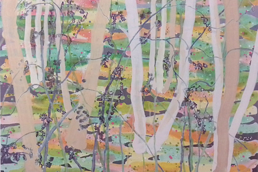 Oil painting: A series of tree trunks grow from a multicoloured bright forest floor.