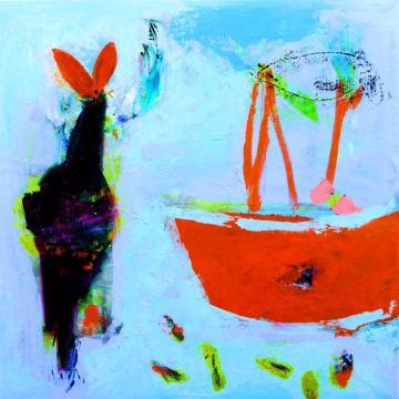 Niamh Collins, Cornish Llama Grenada Calling (2020) 60 x 60 cm, oil on canvas