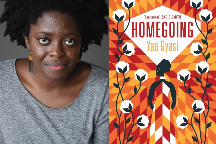 A photograph of the author Yaa Gyasi next to their book Homegoing.