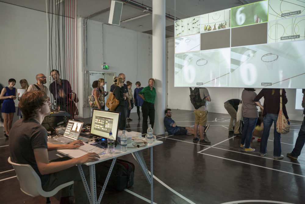 Sophie Warren and Jonathan Mosley with Can Altay, Rogue Game (2012) Spike Island, Bristol. Photograph by Max McClure
