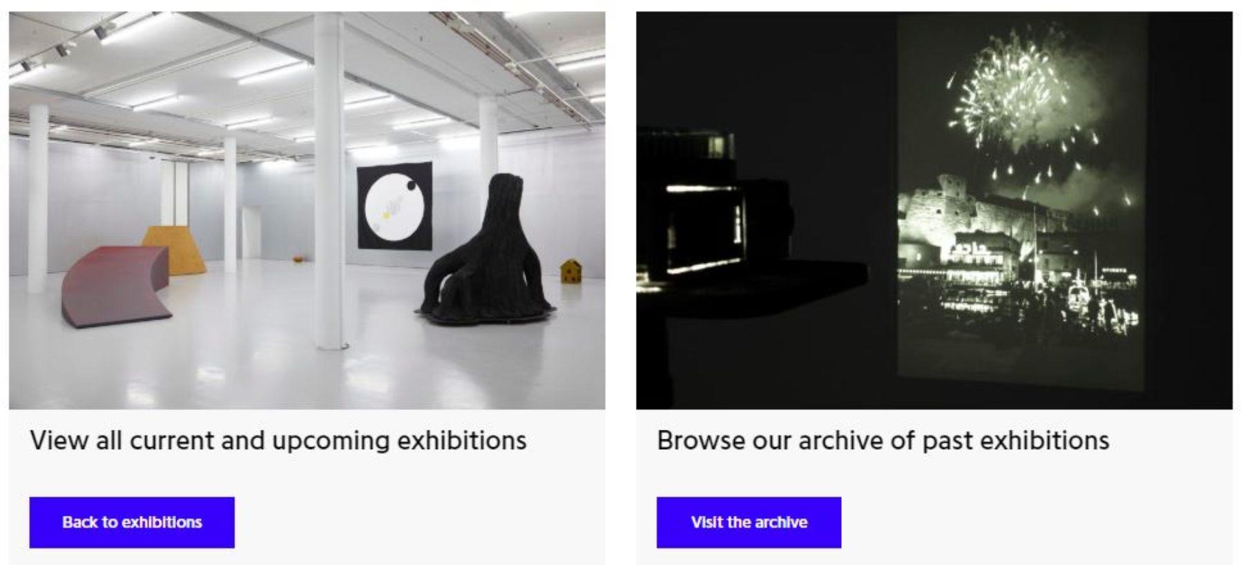 Spike Island Website Development; Exhibitions