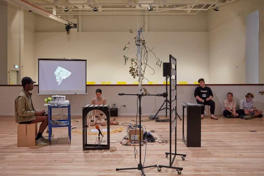 Sriwhana Spong, Performance of Tasseography of a Rat's Nest (extended) (2018). Instrument B (Vivian) (2016). Aluminium bars, wood, Perspex, rubber, felt, brass.