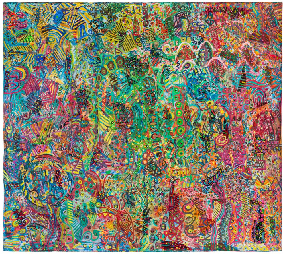 Painting on cloth of many different bright colours and abstract detailed pattern and shapes