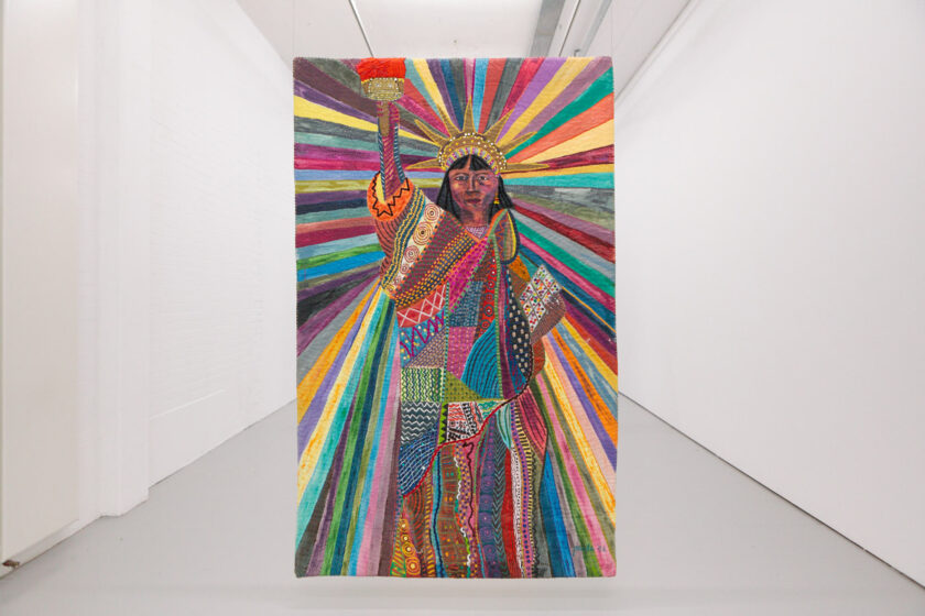 Pacita Abad L.A Liberty (1992) Acrylic, cotton yarn, plastic buttons, mirrors, gold thread, painted cloth on stitched and padded canvas. Life in the Margins (2020) Installation view, Spike Island, Bristol. Works courtesy the Pacita Abad Art Estate. Photograph by Max McClure