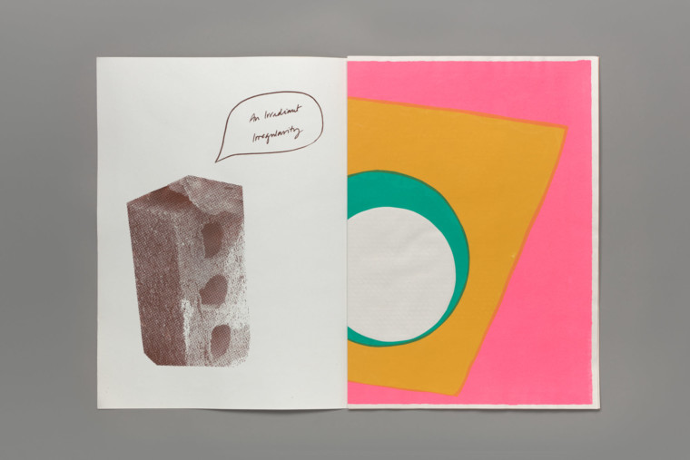 """An open book. On the left page is a risographed and pixelated image of a brick with a hand-drawn speech bubble coming out of it with the words """"An Irradient Irregularity"""" written inside it, in cursive. On the right hand page is a colourful abstract print; a white circle on top of a teal circle, on top of a cropped yellow square on a pink background."""