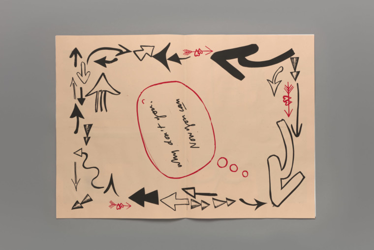 """An open book. On the page are the words """"Why don't you? Now you can"""" screenprinted in black, handwritten style typeface, over a peach background with lots of black handrawn arrows bordering the page. The words are circled by a red line."""