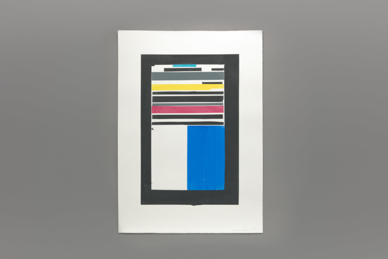 A rectangle with various rectangles of colours and sizes ordered within it. From the top there are horizontal strips of aqua, white, black, grey, yellow, and pink and halfway down there is a vertical strip of white and royal blue.